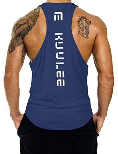 KUULEE Hommes Musculation Débardeur Bodybuilding Stringer Gilet sans Manche Maillot Training Tank Tops Sport T-Shirt Fitness Gym - Bleu Foncé - M / 36
