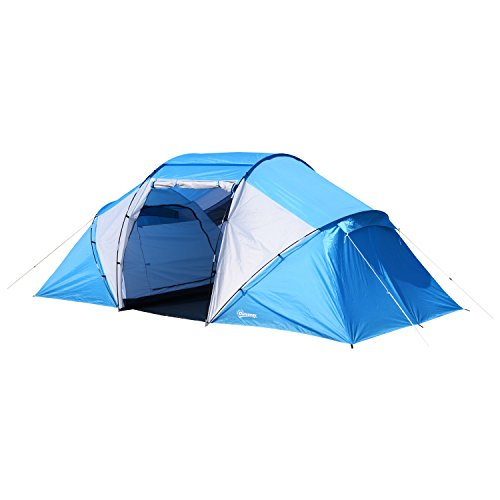 Outsunny Tente de Camping familiale 4-6 Personnes 2 cabines fenêtre Grande Porte 4,6L x 2,3l x 1,95H m Bleu Blanc
