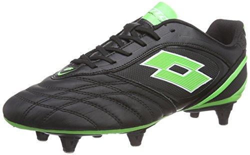 Lotto Stadio P VI 300 SG6 Chaussures de Football pour compétition Hommes, Multicolore - Mehrfarbig (BLK/Mint FL) 40.5 EU