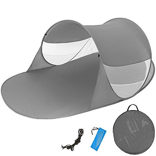 TecTake Tente abri de plage auvent pop up protection UV 245x145x95cm avec sac de transport anthracite