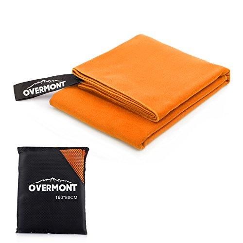 Overmont Serviette Séchage Rapide 160 x 80 cm en Microfibre ultra-légère portable pour camping, randonnée, sport, natation, plage etc.