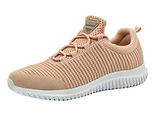 Basket Femme et Homme Chaussure de Sport Course Running Fitness Tennis Slip on Leger Confortable Mode Sneakers Basses Corail 38 EU
