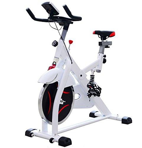Homcom Vélo d'appartement d'exercice Professionnel écran de contrôle Multifonction LCD Blanc