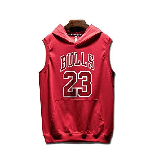 YHsports Chicago Bulls Sweats à Capuche Hommes Manches Jordan T-Shirt Débardeur à Capuche