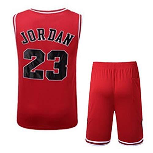 Rying Hommes Adulte Michael Jordan #23 Chicago Bulls Maillot Basketball Jersey Basket Maillots de Basket Uniforme Top et Shorts Nouveau Tissu Brodé
