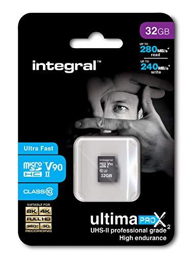 Integral - Micro SD HC 32Go, Carte Mémoire Ultima Pro x2 Ultra Haute Vitesse jusqu'à 280Mb/s, Pour Enregistrements Video 4K, 8K, 360, 3D, Classe 10, UHS-II, U3, V90 + Adaptateur SD