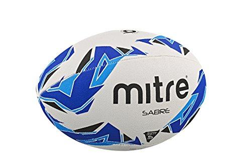 Mitre Sabre Ballon de rugby d'entraînement Blanc/Bleu/Cyan Taille 5