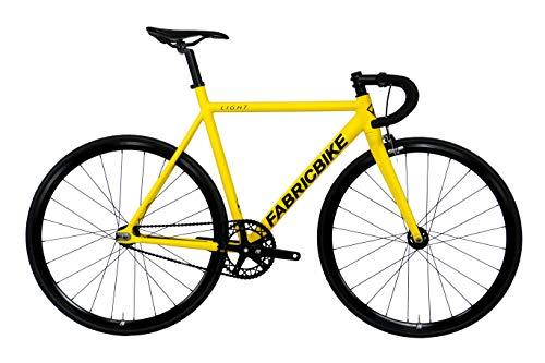 FabricBike Light Pro - Vélo Fixie, Fixed Gear, Single Speed, Cadre et Fourche Aluminium, Roues 28', 3 Tailles, 4 Couleurs, 8,45 kg (Taille M) (Light Pro Matte Yellow, M-54cm)