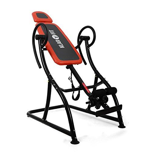 Klarfit Relax Zone Pro Table d'inversion (Exercices du Dos, Cadre de Construction en Acier Stable, 3 Positions, Rembourrage Mousse, 150kg) - Noir & Rouge