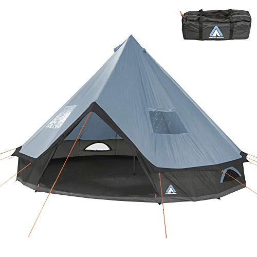 10T Outdoor Equipment Mixte - Adulte Camping Tente Mojave 400 Arona XXL Tipi Tente Ronde étanche 4-8 Hommes Tente Indienne Ø 4 m Bleu