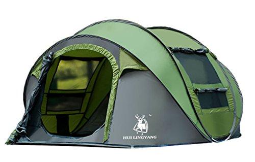 Ghlee 4-5 Personne Tente de Automatique Pop Up Tente imperméable à l'eau 2 Secondes Facile mis en Place et Plier - abri intérieur Extra Sombre pour Voyage, Vert (290 * 200 * 130CM)