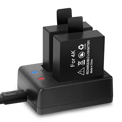 Crosstour caméra de Sport Batteries Rechargeables Dual 1050mAh avec USB Chargeur pour Caméras d'action