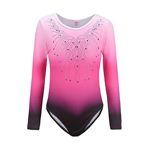 Sinoem Justaucorps de Gymnastique Fille Couleur Dégradé Multicolore Manches Longues Leotard Danse Ballet pour Enfant 5-12 Ans (11-12 Ans, Rose - Manches Longues)