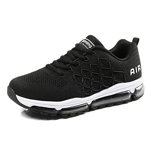Homme Femme Air Baskets Chaussures Gym Fitness Sport Sneakers Style Running Multicolore Respirante 1643 Black 39