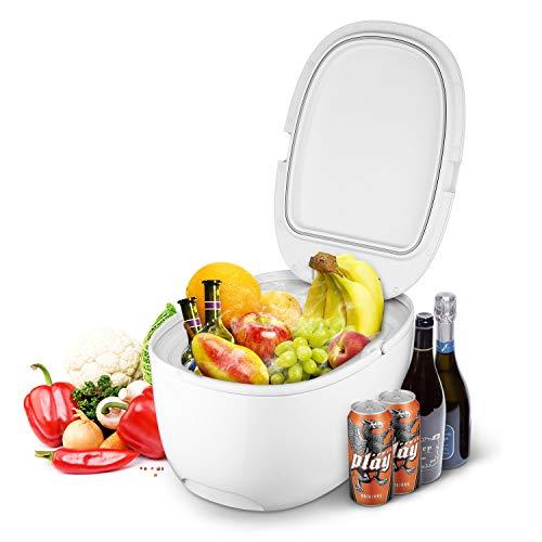 INTEY Réfrigérateur de voiture, mini-réfrigérateur, réfrigérateur portable, chauffage et climatisation, adapté aux voitures, aux cuisines ou au camping, 12 L - Blanc