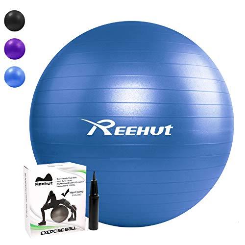 Reehut Ballon De Gymnastique Balles d'exercices Fitness avec Pompe Dynamic Ball Yoga Anti-Explosion - pour l'Equilibre de Corps, Le Pilates - Bleu 55cm