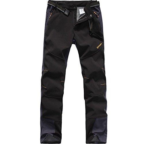 FLYGAGA Homme Pantalon Softshell Doublé polaire Coupe-vent Imperméable Outdoor Sport Camping Randonnée Trekking Pantalon (X-Large, Noir)