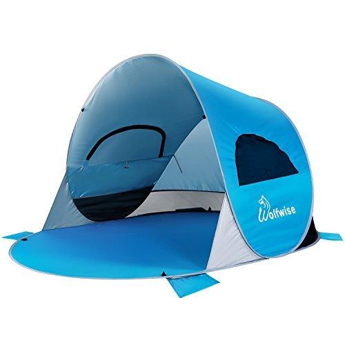 WolfWise Pop Up Abris de Plage Spacieux UPF 50+, Parasol de Plage, Tente Instantanée Portable, En plein air, Tente de Plage, Super Solide, Bleu