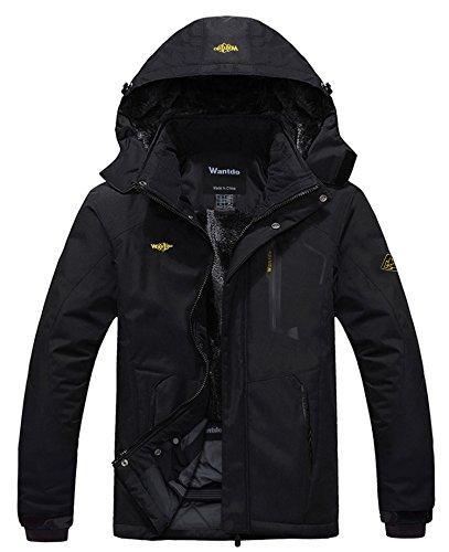 Wantdo Homme Anorak Veste Coupe-Vent d'hiver Manteau Imperméable Étanche à Capuche Coupe-Pluie Sportif Noir X-Large