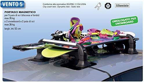 GEV A8940Vento 5 Lot de 2 Supports magnétiques pour Skis, antivol