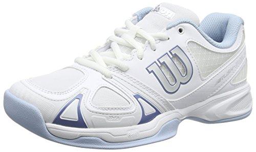 Wilson Femme Chaussures de Tennis, Idéal pour les joueuses de tous niveaux, Pour tout type de terrain, RUSH EVO CARPET, Tissu Synthétique, Blanc (White/White/Cashemere Blue), Taille: 39