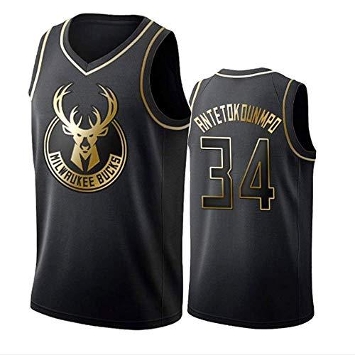 WOLFIRE WF Maillot de Basketball pour Hommes, NBA, Giannis Antetokounmpo #34 Milwaukee Bucks T-Shirt pour Ventilateurs brodé, Respirant et résistant à l'usure (Golden Edition, S)