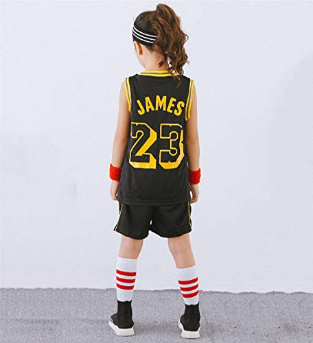 Enfants Maillot De Basket NBA Lebron James #23 Lakers Rétro Short et Maillot Basketball Jersey Basket Maillots de Basket Uniforme Top & Shorts 1 Set,Black,L-140-150cm