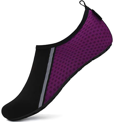 SAGUARO Homme Femme Chaussures de Plage et Piscine Chaussures de Bain Pieds Nus Séchage Rapide pour Surf Natation Plongée Yoga Aquatique Sport Banxie-Violet,38/39 EU