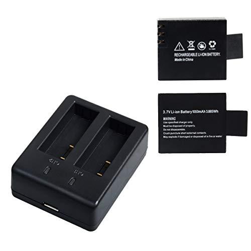 Action Caméra Sport Batterie Rechargeable 1050mAh et Double Chargeur De Pile USB Compatible avec Campark JEEMAK APEMAN Crosstour Cozime Victure GULAKI