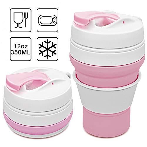 Tasse a Café Pliable Silicone Tasse Pliable,Eco Mug Pliante Réutilisable Anti-fuite Tasse de café Portable Tasse de Voyage avec couvercle Collapsible Cup Sans BPA pour Camping Randonnée 350ml (Rose)