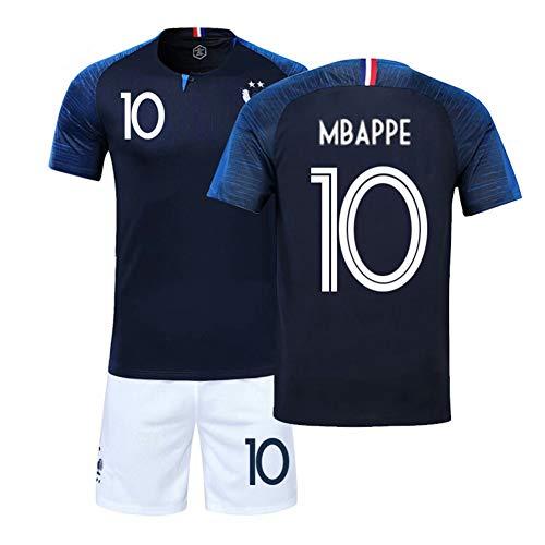 LJP FFF Football Coupe du Monde Ensemble Français équipe Champion Maillot 2018 Coupe du Monde Deux étoiles avec Shorts,No.10,26