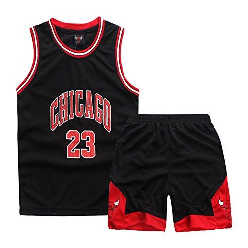 YISPORT Maillots De Basketball Basket Maillots Michael Jorden#23 Basketball T-Shirt Et Short Ensemble De Maillot pour Les Enfants,Noir(Jordan),M