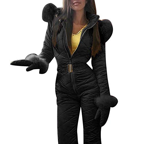 BITTEL Combinaison de Ski Femme, Femme Hiver Chaud Combinaison Neige Extérieur Sports Pantalon Ski Suit Imperméable Combinaison pour Ski, Sports, Cadeau - Noir, S
