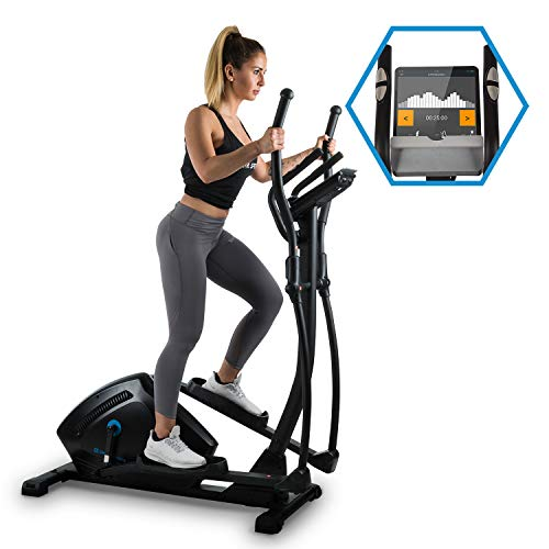 Capital Sports Helix Track Cross-Trainer avec Ordinateur d'entraînement • Crosswalker • Bluetooth • Transmission par Courroie • Volant d'inertie 18 kg • 32 Niveaux • Noir