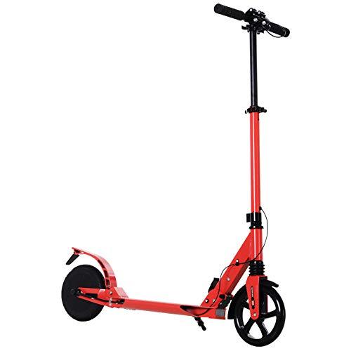 Homcom Trottinette électrique Pliable 150 W pour Adulte Enfant 14 Ans Min. 15 Km/h Max. autonomie 10 km Max. alu. Rouge