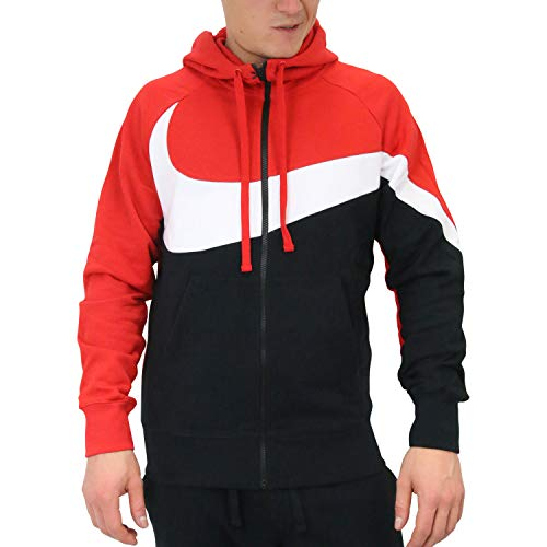 Nike M NSW HBR Hoodie FZ FT STMT Sweat-Shirt Homme, University Red/White/Black/Bla, FR : S (Taille Fabricant : S)