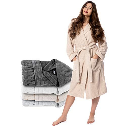 Twinzen Peignoir Femme (M, Beige Clair/Taupe) - 100% Coton, Certifié Oeko TEX - Peignoir Eponge Coton avec Capuche, 2 Poches, Ceinture - Sortie de Bain Douce, Absorbante et Confortable
