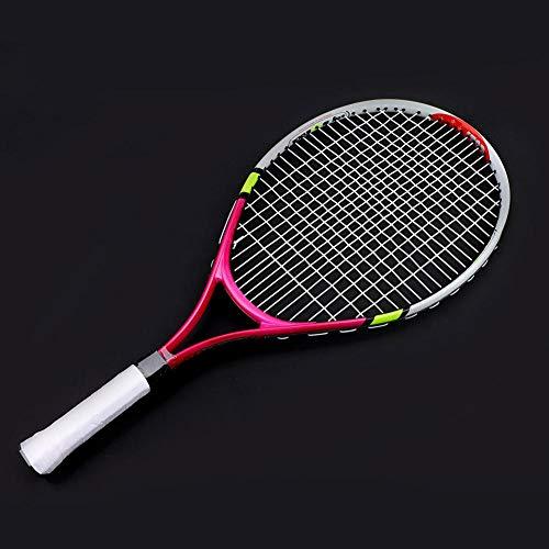 Alomejor Raquette de Tennis 3 Couleurs en Alliage d'aluminium Enfants Corde Simple Raquette de Tennis avec Housse de Transport pour l'entraînement des Enfants(Rose Red)