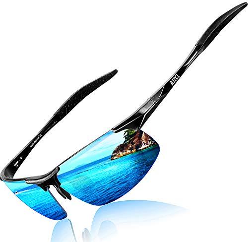ATTCL Homme Sports Polarisées Lunettes De Soleil Polarisé Al-Mg métal Cadre super léger 8177-B-Blue