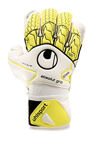 UHLSPORT - UHLSPORT ABSOLUTGRIP BIONIK+ - Gant gardien football - Paume Mousse Absolutgrip - Coupe classique,Blanc (Jaune Fluo/Noir),Taille : 9