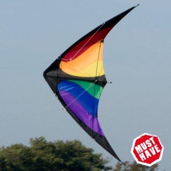 IMC Networks Cerf-Volant acrobatique - NUNCHAKU Rainbow MUSTHAVE - pour Enfants à partir de 8 Ans - 140x70cm - Inclus Lignes sur bobines