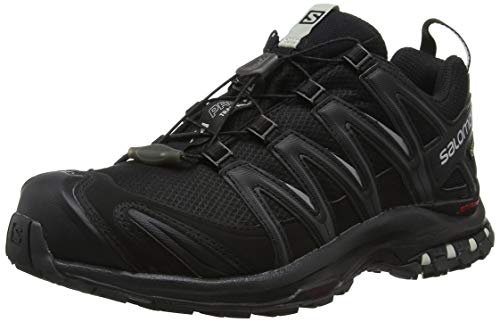 Salomon Femme XA Pro 3D GTX, Chaussures de Trail Running, Imperméable, Noir (Black/Black/Mineral Grey), Taille: 39 1/3