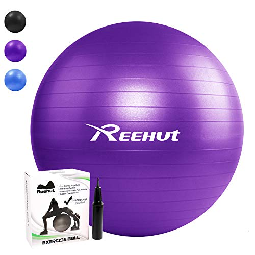 Reehut Ballon De Gymnastique Balles d'exercices Fitness avec Pompe Dynamic Ball Yoga Anti-Explosion - Violet 55cm