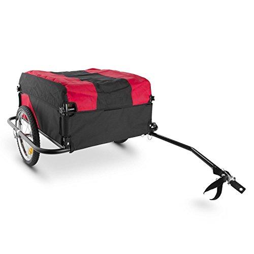 Duramaxx Mountee - Remorque de vélo, Capacité 130L, Charge Max. 60kg, Toile en Nylon avec Protection Anti-Pluie Incluse, Roues de 16', Pliable, Rouge