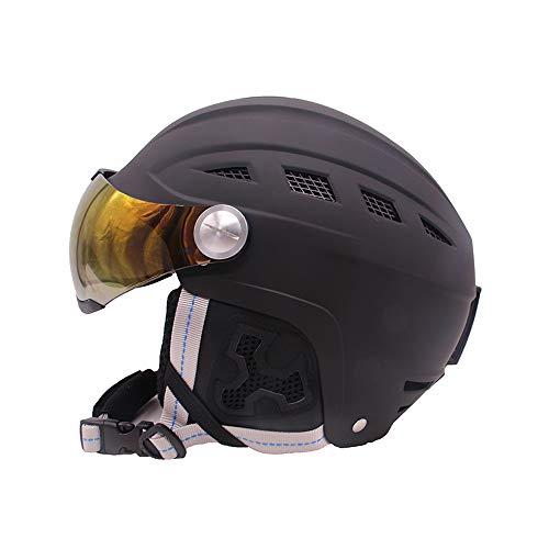 2-en-1 visière Ski Casque de Snowboard détachable Masque de Neige Anti-buée Anti-UV Anti-UV intégré Bouclier de Faible Poids Adultes Hommes Femmes,S