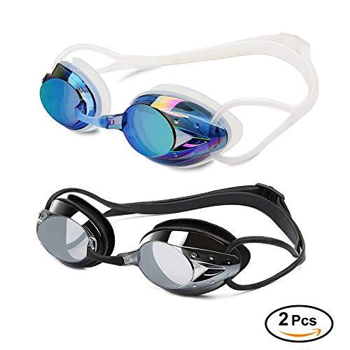 Yimidon Lunettes de Natation, 2 Paires Lunettes de Piscine Aucune Fuite Protection UV Antibuée Longueur Réglable pour Hommes Femmes Adultes