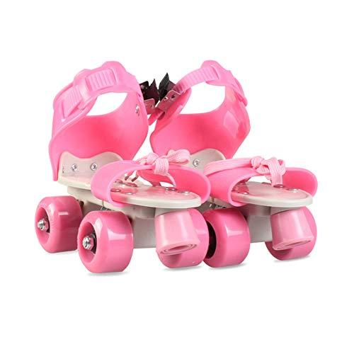ZCRFY Patins à roulettes Patins Double Rangée Ajustables Enfants 4 Roues Débutants Garçons Enfants Filles Intérieur Et Extérieur Rollers Quad en Ligne,PinkB-(26-36) Code