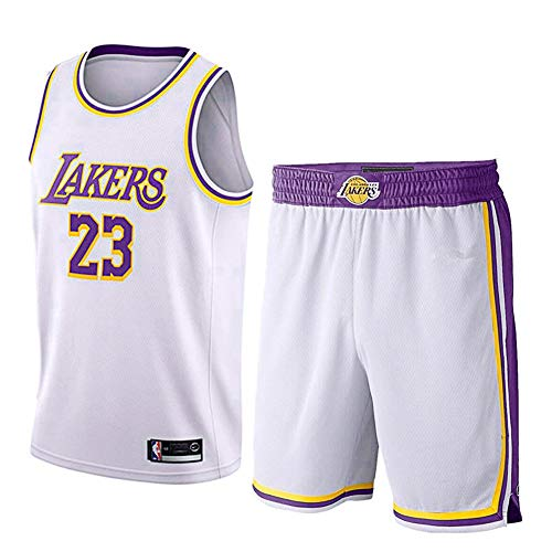 Wanxida Maillot de Basket,James Lakers No.23 Basketball Jersey Basketball Jersey Top et Short Sportwear Ensemble -(Col Rond Blanc)