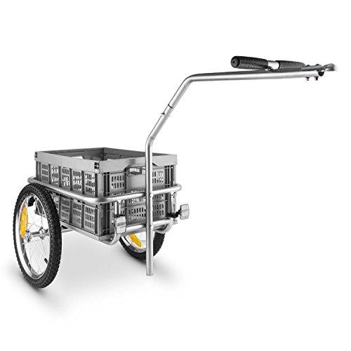 oneConcept Bigbig Box Remorque vélo de (40L/40kg, poignée avec pneus de 16', cadre en acier enduit de poudre) - gris