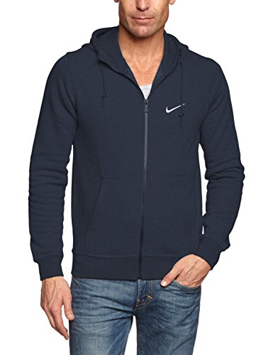 Nike Club Hoody-Swoosh Sweat-Shirt à Capuche Homme, Dark Obsidian/White, FR : S (Taille Fabricant : S)